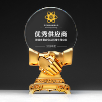 Zhuo Wei Metal Trophy is set to be the companys enterprise handshake cooperation win-win excellent supplier crystal medal.
