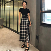 Black plaid skirt womens retro fork a-word skirt high waist show thin mid-length model 2019 new summer