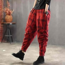 2019 spring and autumn new cotton plaid pants retro wild loose harem pants radish pants crotch pants