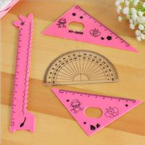 Childrens toys new puzzle stationery prize set set ruler triangle ruler student ruler cartoon