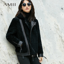 Amii minimalist merino wool fur one fur temperament Winter new lapel sheep shears motorcycle jacket female