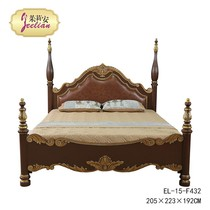 European-style neo-classical solid wood birch 1 8 m dark brown hand-painted foreign flowers carved bed bed villa model bed