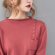 Cotton line thin sweater 19 spring and autumn new compassionate long-sleeved pullover shirt half-high collar collar short paragraph