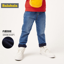 Balabala boy pants autumn and winter 2019 New childrens trousers baby childrens wear casual pants plus velvet jeans