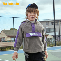 Balabala male baby sweater children's autumn and winter 2019 New children's clothing children's furry tide cool pullover