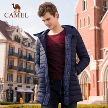 Camel outdoor down jacket 2019 Winter Youth solid color hooded white duck down light long down jacket Jacket