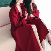 Korean version of the 2019 marriage new autumn and winter red double-sided cashmere coat female wool coat female long section