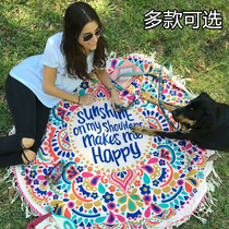 Round printed beach towel oversized anti嗮 shawl cushions seaside shawl European and American cloth bikini hoodie floor mat.