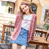 Leopard Sweater Coat Female fragrance Shadow 2019 spring New Net red lazy wind thin loose knitted cardigan tide