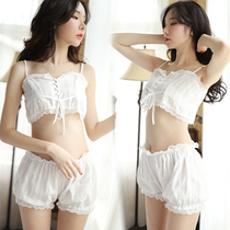 Sexy bellyband suspenders sexy Japanese pajamas transparent lace hot small chest Court home service married with