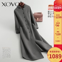 High-end temperament was thin cashmere double-sided woolen coat womens long section 2019 popular woolen coat double-sided woolen