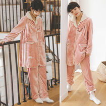 The female pajamas of lactating pregnant women in autumn and winter plus velvet thickening postpartum coral velvet feeding home suit set