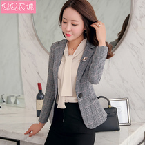chic plaid small suit jacket female Korean slim 2019 spring new ladies long-sleeved casual short suit