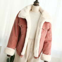 2019 autumn and winter coat Korean corduroy jacket female short paragraph cashmere thickening student BF wind loose lambskin