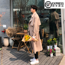 Very fairy windbreaker men in the long section of the knee over the Korean version of the British wind casual trend coat handsome Tide brand spring and autumn