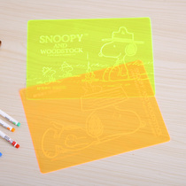 Morning writing pad B5 cartoon transparent soft pad fluorescent color Junior High School students exam pad 98320 m writing pad Board fresh snoopy Snoopy cartoon
