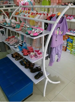 High-grade clothing shelf semicircular clothing display rack floor shoe cabinet in the island cabinet mother baby children clothing store shelves