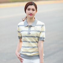 GERTOP Deutsch peak summer pure cotton breathable striped short sleeve polo ladies t-shirt F1201008