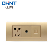 CHiNT 118 combination wall socket NEW5D steel frame champagne dazzle gold three 1 plug computer TV