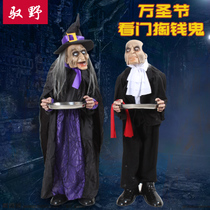 Halloween Ghost Festival witch butler tray ghost hanging ghost tricky props bar Haunted House holiday props supplies