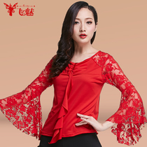 Fly charm modern dance shirt long-sleeved lace section adult GB ballroom dancing clothing shirt autumn and summer New
