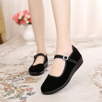 Old Beijing shoes shoes flat shoes casual work shoes women black soft bottom dancing shoes mother shoes non-slip
