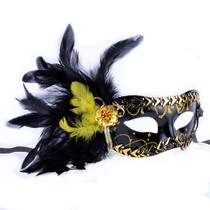 Lin Fang 35g side Feather mask Halloween Masquerade ball Venice imitation Steel edge Feather Mask