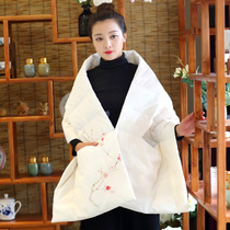 New Winter Warm thickening yoga clothes down shawl coat sports shoulder hand-painted female retro meditation cloak
