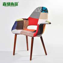 Sen Green Shangpin fabric chair restaurant soft chair solid wood cloth chair creative organ chair leisure backrest Book Room Chair