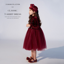 Autumn girls velvet dress 2019 autumn New Style Large children princess dress baby fluffy skirt