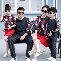 Parent-child autumn dress 2020 new chao family of three family dress Korean version of the black suit long-sleeved family dress.
