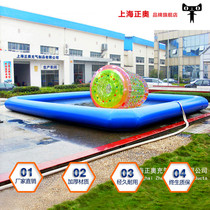 Large inflatable pool swimming pool mobile water park equipment manufacturers water rushed off checkpoints slide seesaw