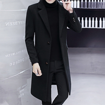 Windbreaker mens long section over the knee autumn and winter Korean slim handsome trend British wind wool woolen coat coat male