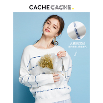 CacheCache white knit top female 2019 autumn new striped sweater loose lazy wind down shoulder sweater