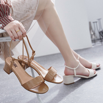 ZHR2019 new summer net red sandals female Fairy Wind with thick with high heels ins wild evening shoes