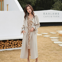 2019 autumn new thin section coat coat female long paragraph lazy loose elegant temperament tie coat Korean version