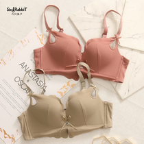 Six rabbit underwear female no rims gathered summer bra set sexy small chest flat chest girl ladies bra