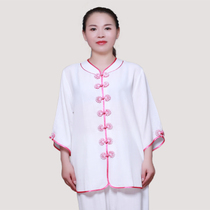 Five birds play Tai Chi Clothing female summer short-sleeved bamboo hemp Tai Chi Clothing Chinese style middle-aged martial arts practice clothing