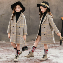 Girls Foreign hair coat autumn and winter 2020 new childrens little girl winter wool plaid coat Korean version