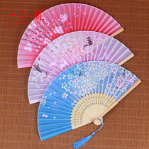 Chinese style hanfu fan folding female cherry antique classical dance student folding small gift Red carry