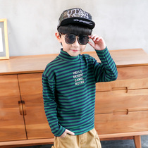 Left West boy long-sleeved t-shirt winter 2019 New children thick striped bottoming shirt high collar boy Korean tide