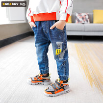Left West boy pants autumn 2019 New childrens jeans in the Big Boy straight spring and autumn models western Korean version of the tide