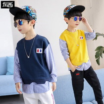 Zuo Mengdan Boy Wei Yichun 2019 new Childrens long-sleeved T-shirt set in the middle of the spring and autumn Korean plate tide