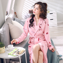 Spring Ladies  robe with long cotton pajamas with full cotton bathrobe Spring and autumn bathrobe Japanese-style morning robe