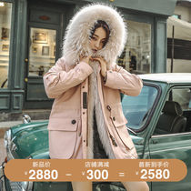 Anti-season Haining Parker clothing female 2019 new long section Rex rabbit hair detachable liner raccoon fur coat