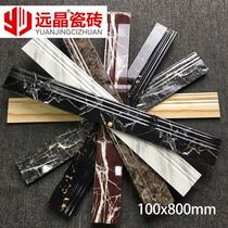 Foshan ceramic tile baseboard 100800 border waveguide strands ground black gold flower black and white root Jazz white line