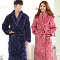 Robe male winter thickening plus long coral velvet bathrobe female Winter velvet warm cotton mens pajamas Big code