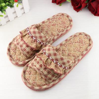 Men and women lovers cloth three layer thick cloth bottom slippers silent wooden floor indoor mute machine wash soft bottom