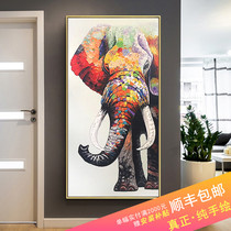 Modern minimalist porch decorative painting pure hand-painted oil painting home aisle paintings elephant murals living room vertical version of European