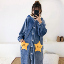 Coral Velvet Star Robe flannel pajamas female winter cute autumn and winter thickening plus long warm loose can be worn out